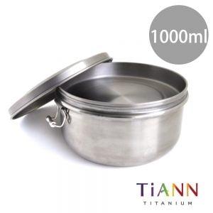 TiANN 鈦安餐具 純鈦餐具 鈦聰明 鐵路便當盒組 1000ml (扣式含蓋)