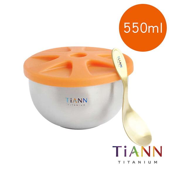 TiANN 鈦安餐具 純鈦雙層鈦碗含蓋+小湯匙